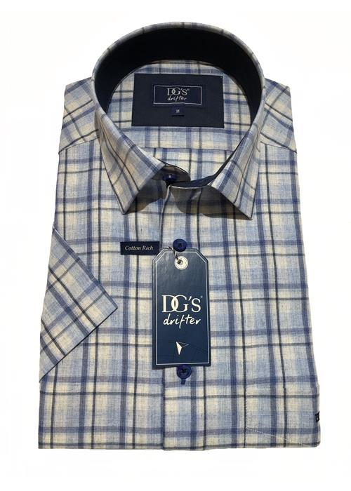 Douglas Short Sleeve Woven Multi Check Shirt (Blue)
