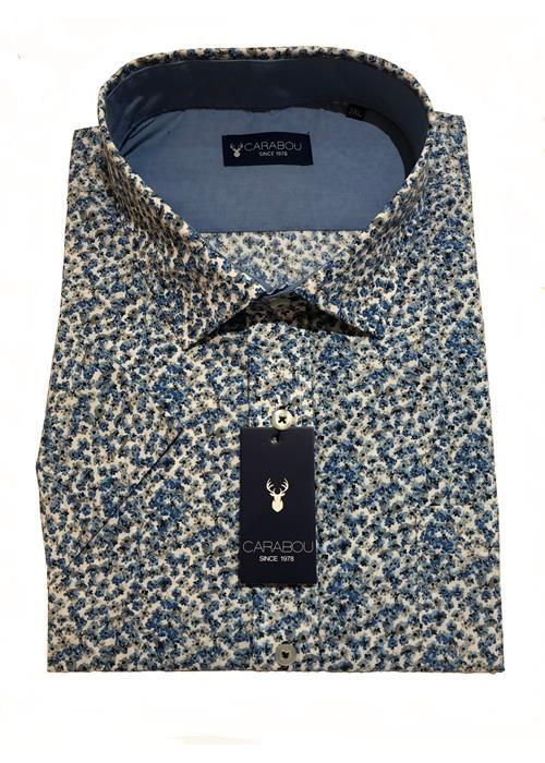 Carabou Short Sleeve Neat Floral Shirt (Blue)