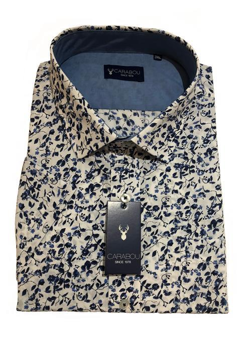 Carabou Short Sleeve Floral Bold Pattern Shirt (White)