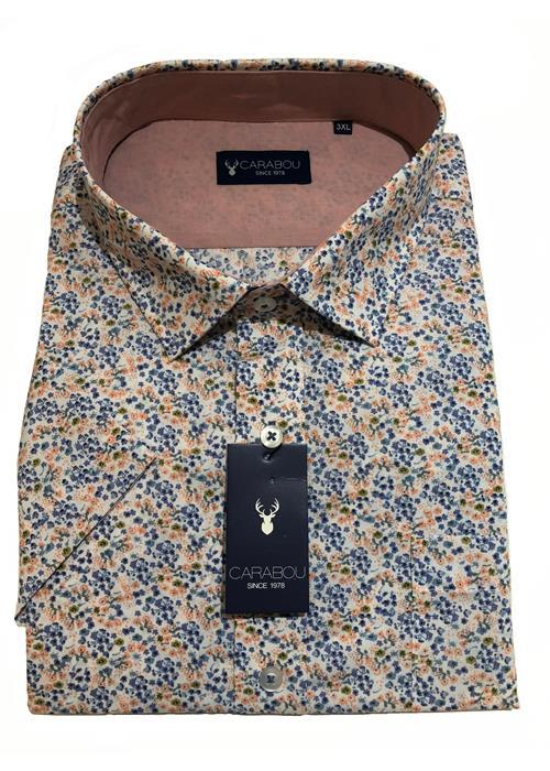 Carabou Short Sleeve Floral Pattern Shirt (Blue/Peach)