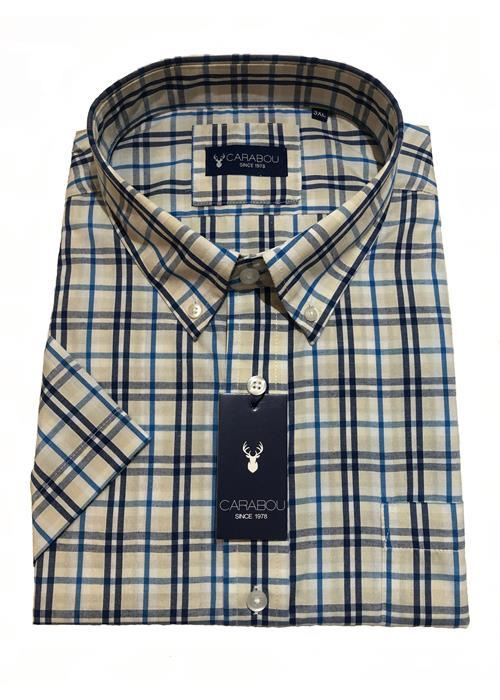 Carabou Short Sleeve Check Shirt (Tan/Navy)