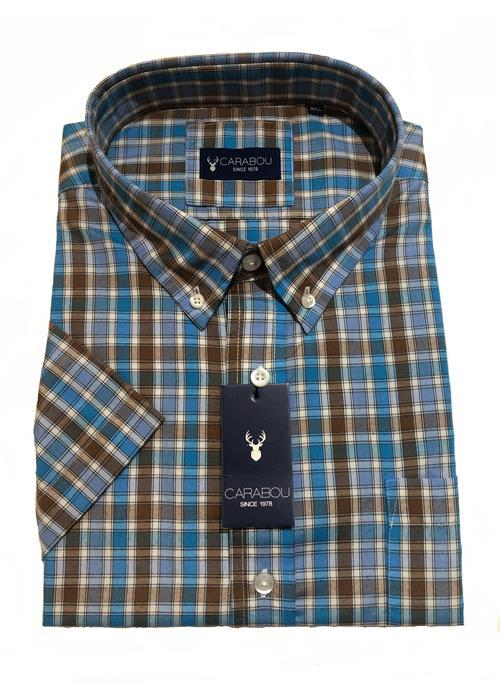 Carabou Short Sleeve Check Shirt (Brown/Sky)