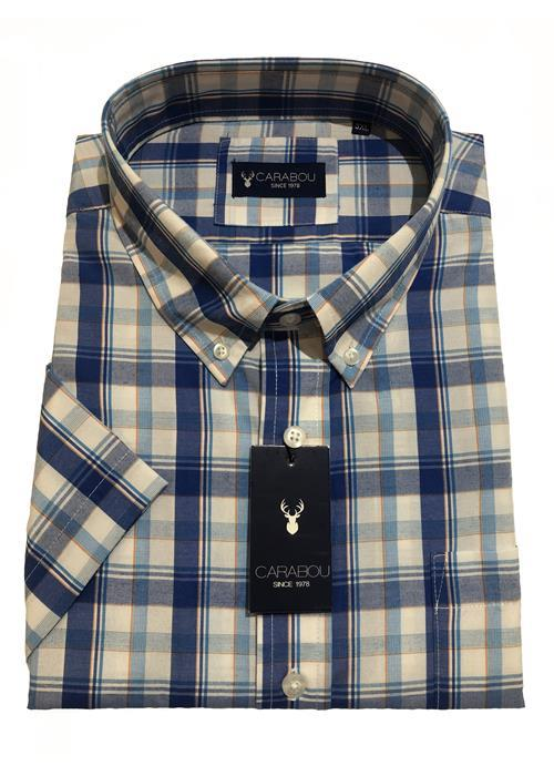 Carabou Short Sleeve Bold Check Shirt (Mid Blue)
