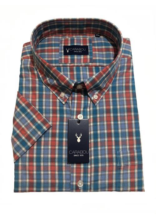 Carabou Short Sleeve Check Shirt (Salmon/Sky)