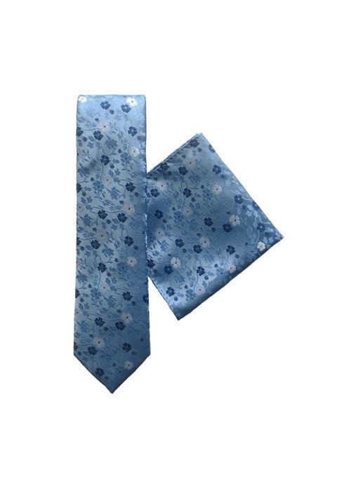 L.A.Smith Ties Floral Tie & Handkerchief Set, Wedding, Work (Blue)