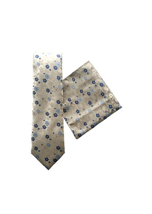 L.A.Smith Ties Floral Tie & Handkerchief Set, Wedding, Work (Grey)