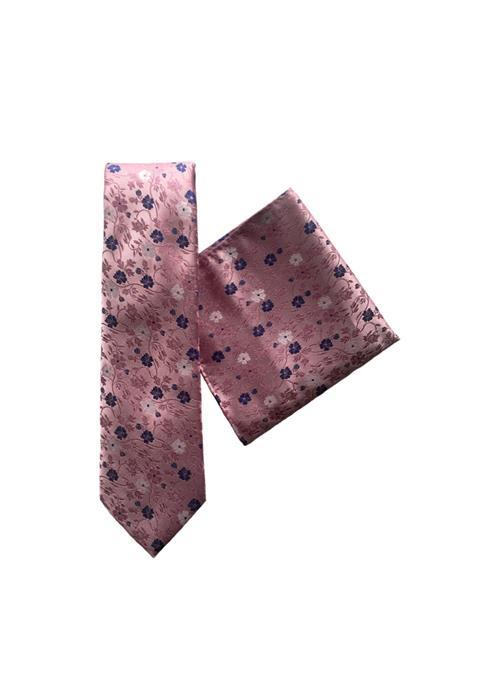 L.A.Smith Ties Floral Tie & Handkerchief Set, Wedding, Work (Pink)
