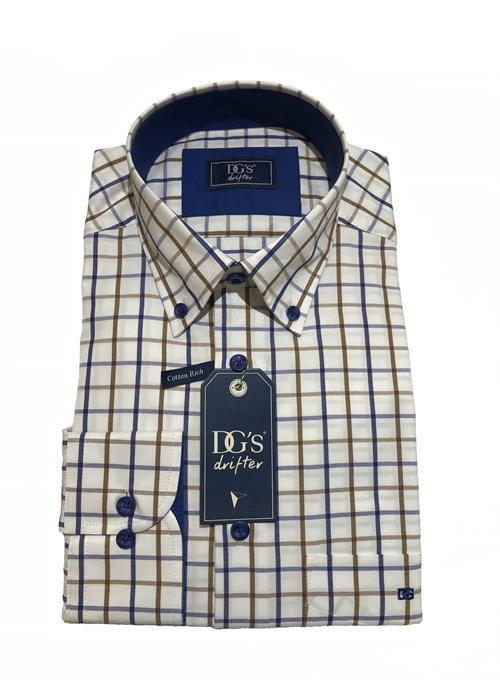 Douglas Long Sleeve Check Shirt (White/Blue/Tan)