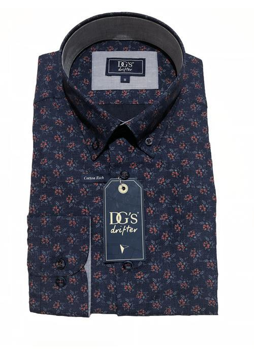 Douglas Long Sleeve Floral Patterned Shirt (Navy/Wine)