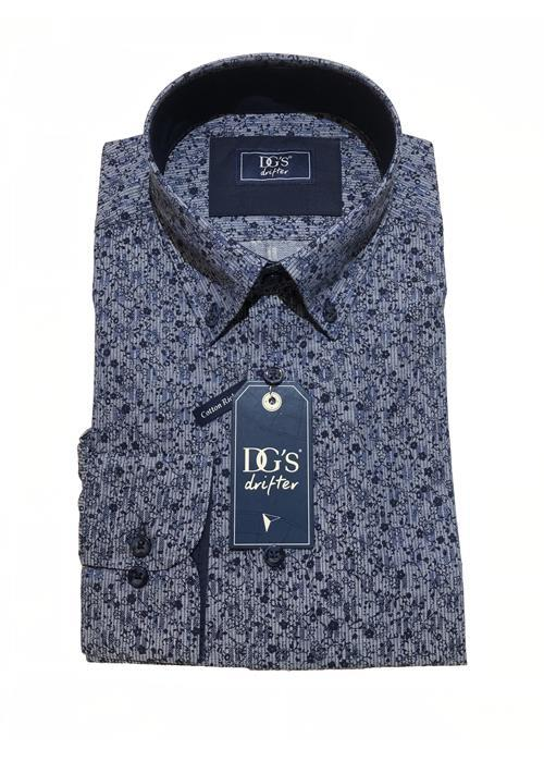 Douglas Long Sleeve Patterned Shirt (Mid Blue / Navy)