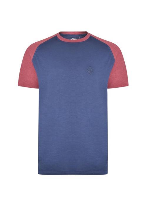 KAM Crew Neck Raglan Sleeve T-Shirt (Blue/Wine)