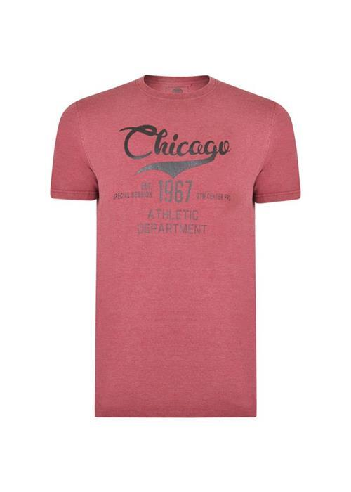 KAM Crew Neck Printed Chicago T-Shirt (Wine)