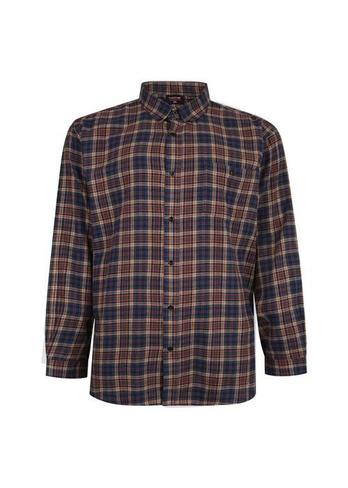 Espionage Long Sleeve Multi Check Brushed Cotton Shirt (Navy/Tan)