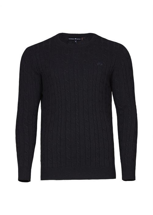 Raging Bull Signature Cable Knit Crew Neck Sweater (Navy)