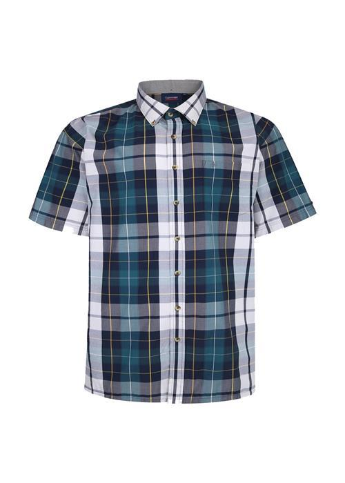 Espionage Short Sleeve Check Shirt (Navy/Teal)