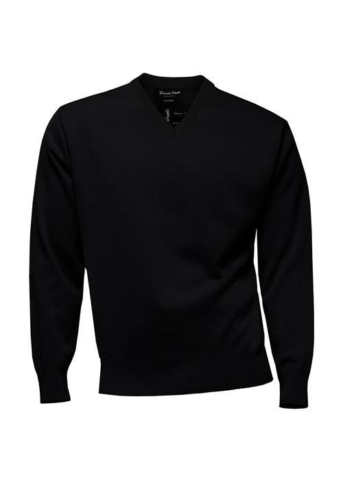 Franco Ponti Classic Plain V-Neck Sweater (Black)