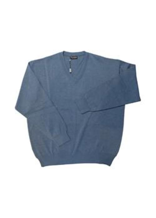 Franco Ponti V-Neck Sweater (Denim Blue)