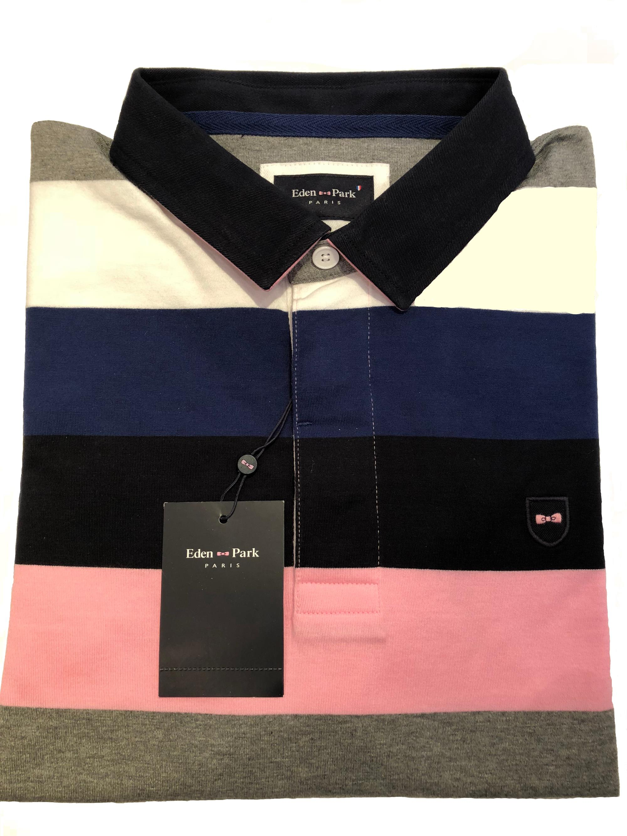 striped jersey style polo shirt