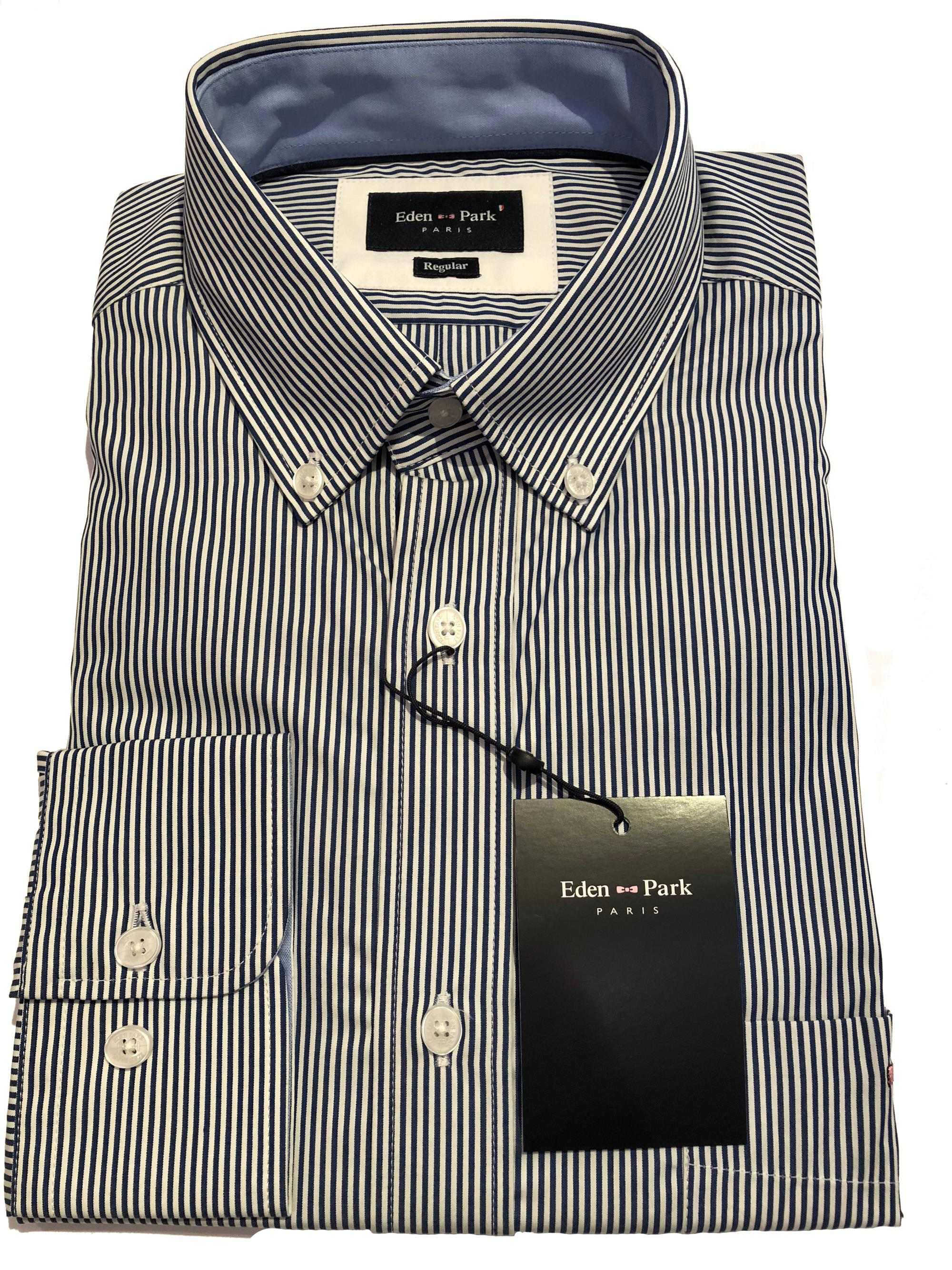 classic long sleeve striped shirt (navy/white)
