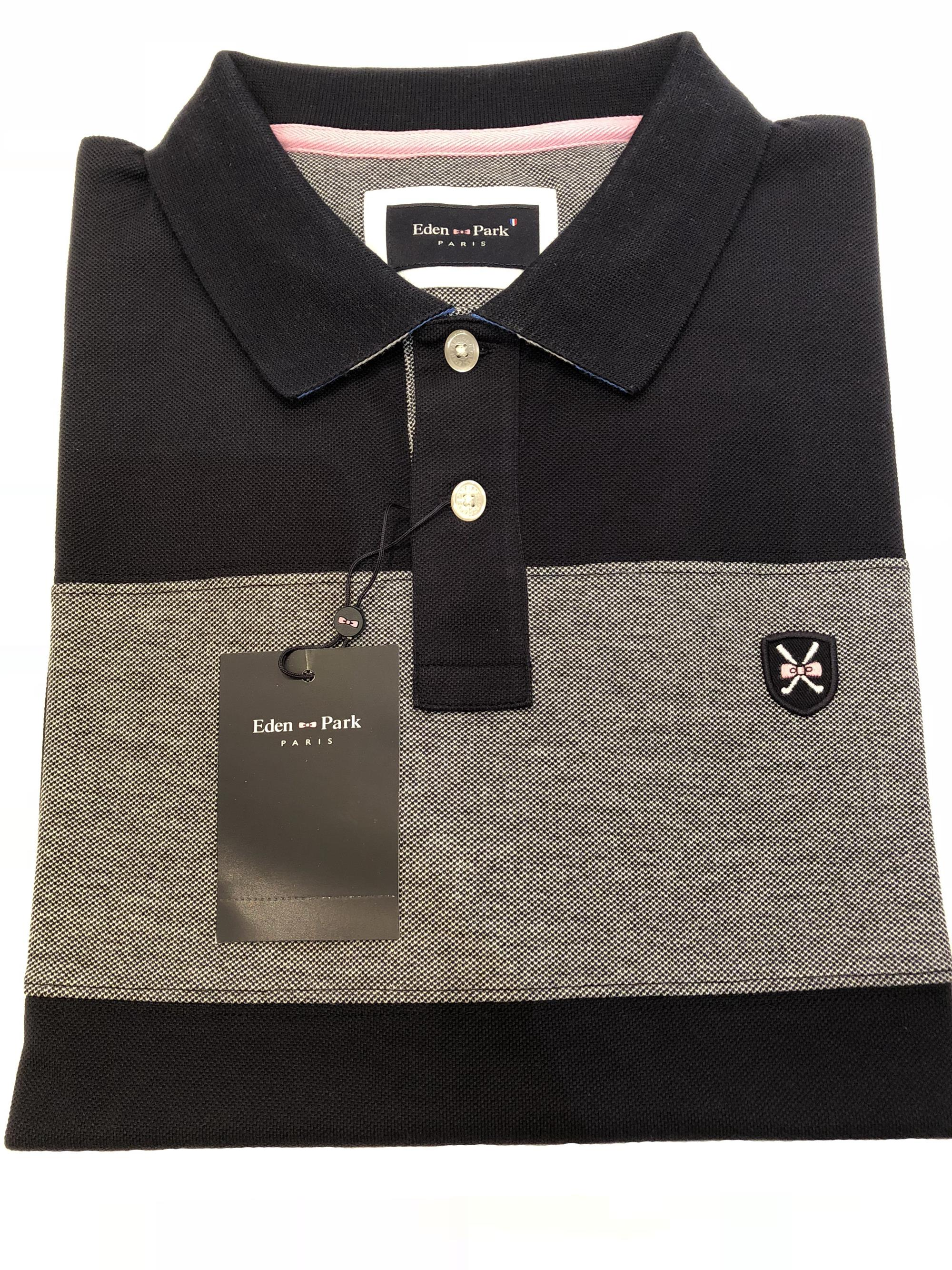 block striped golf polo (navy)