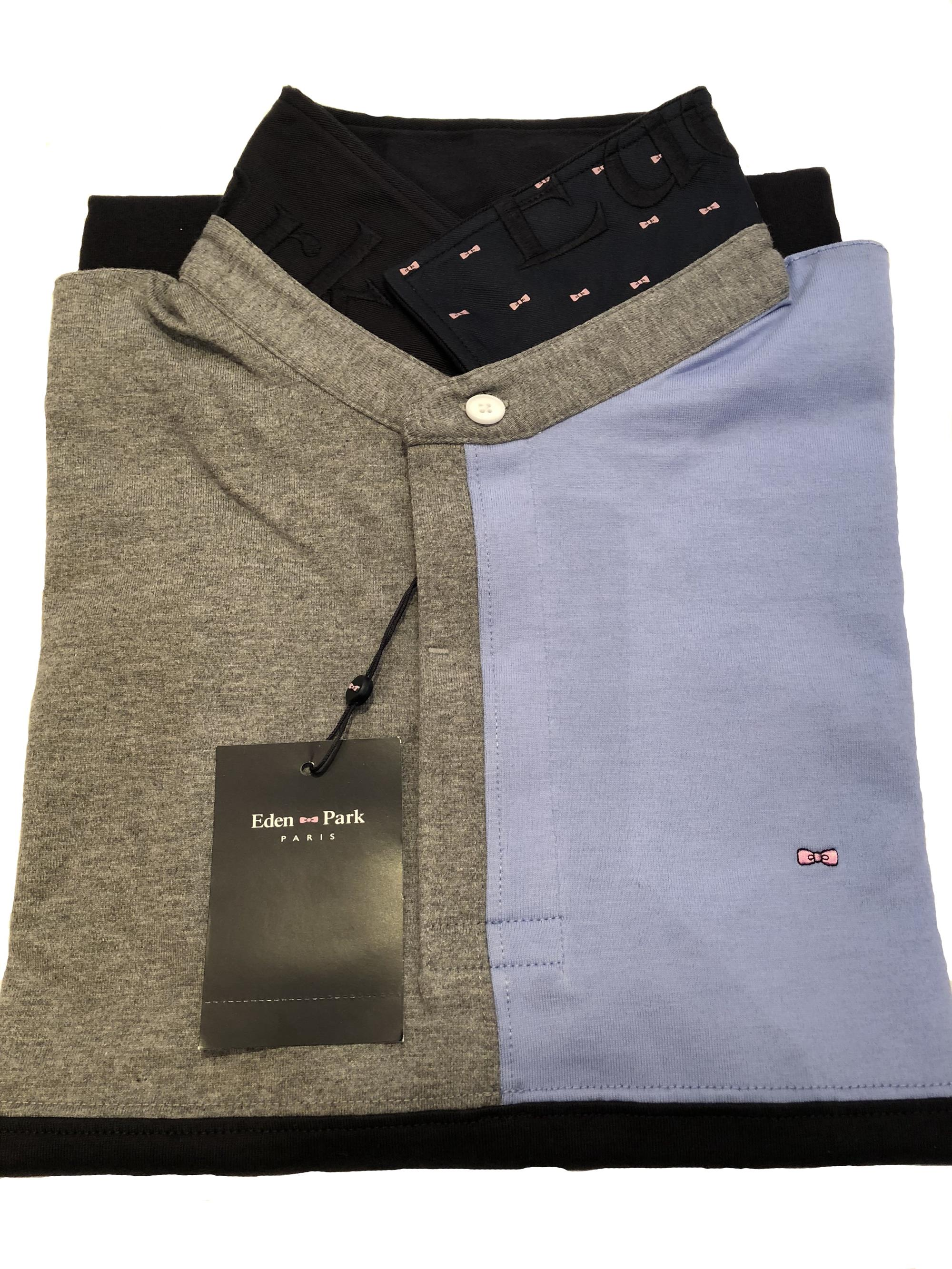 panel jersey style polo (navy/grey/sky)