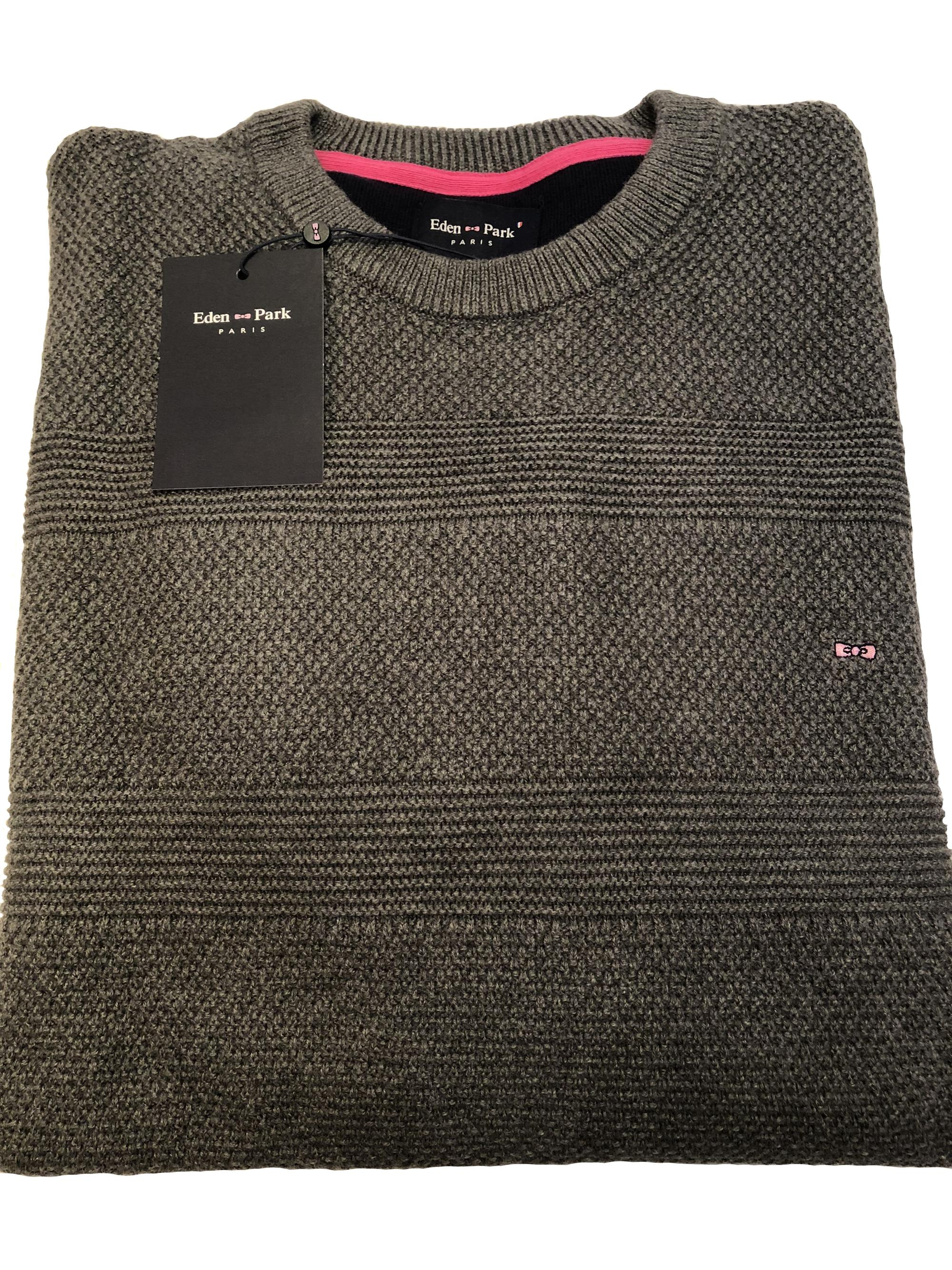 crew neck cable knit sweater (grey)