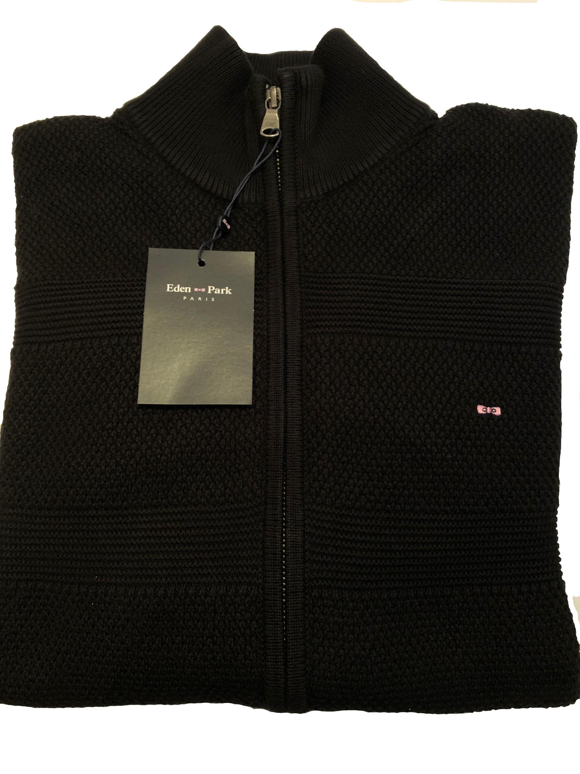 full zip cable knit cardigan (black)