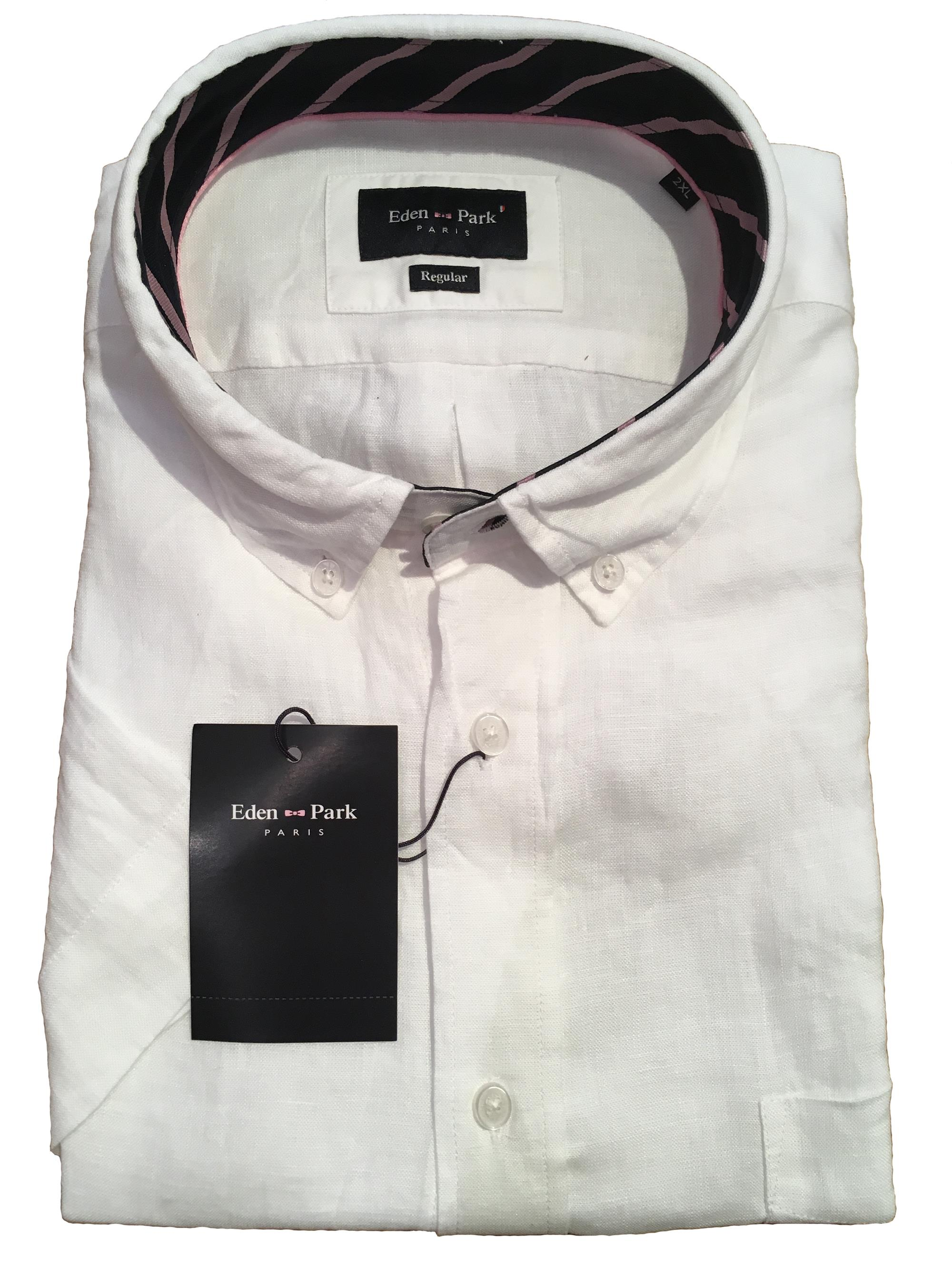 linen short sleeve shirt (white)