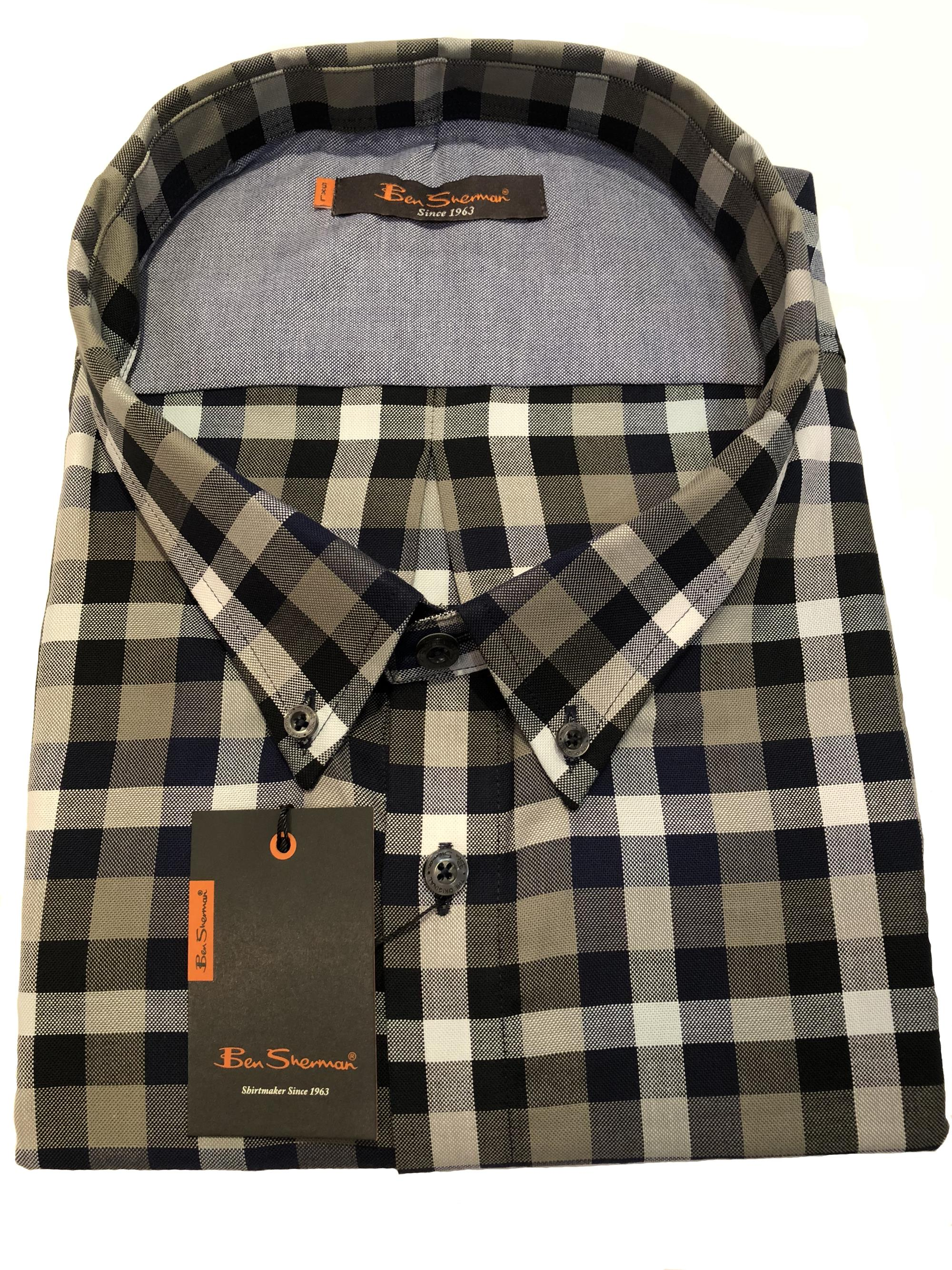 bold check short sleeve shirt (olive)