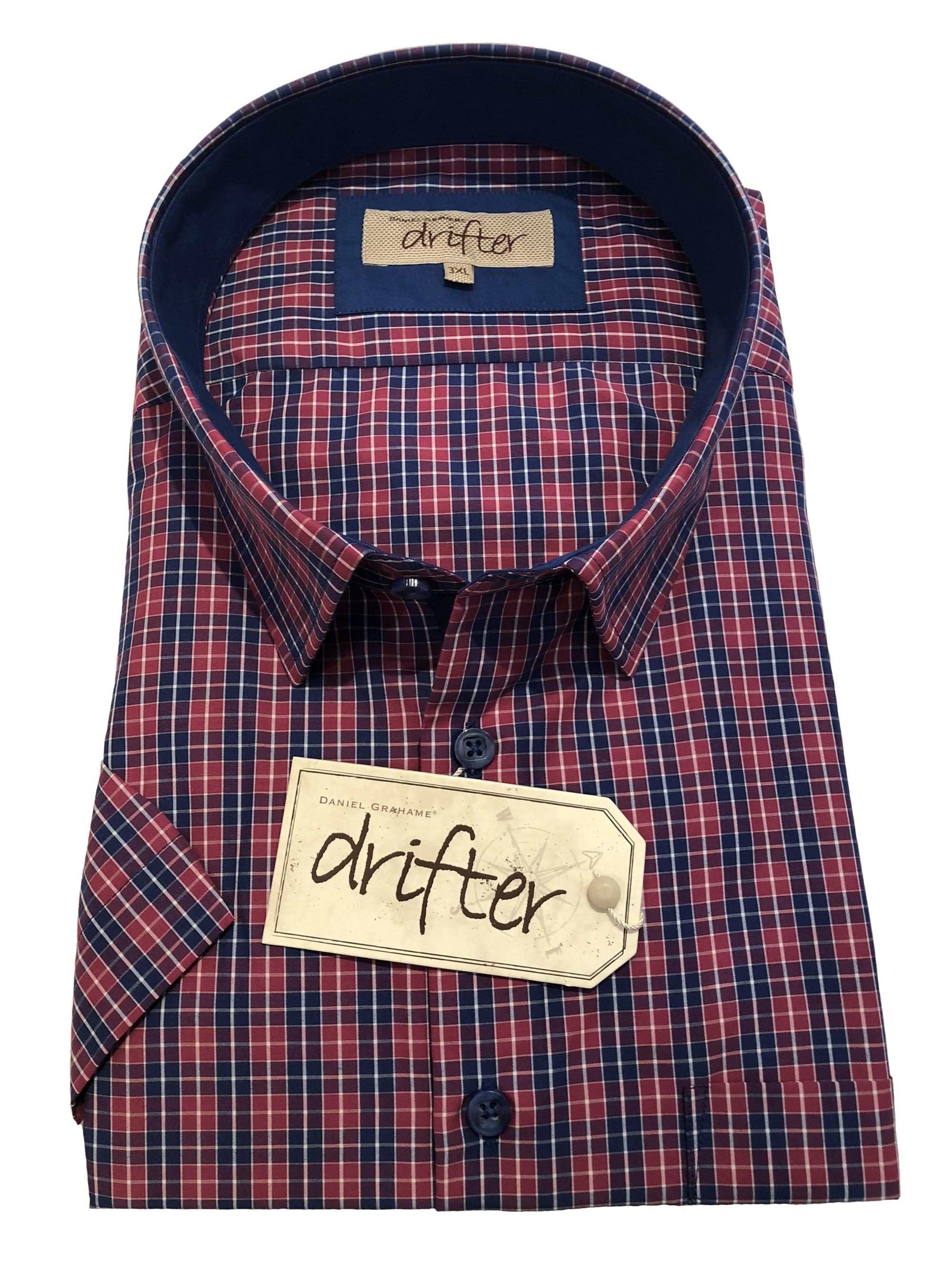 short sleeve neat check shirt (fuchsia)
