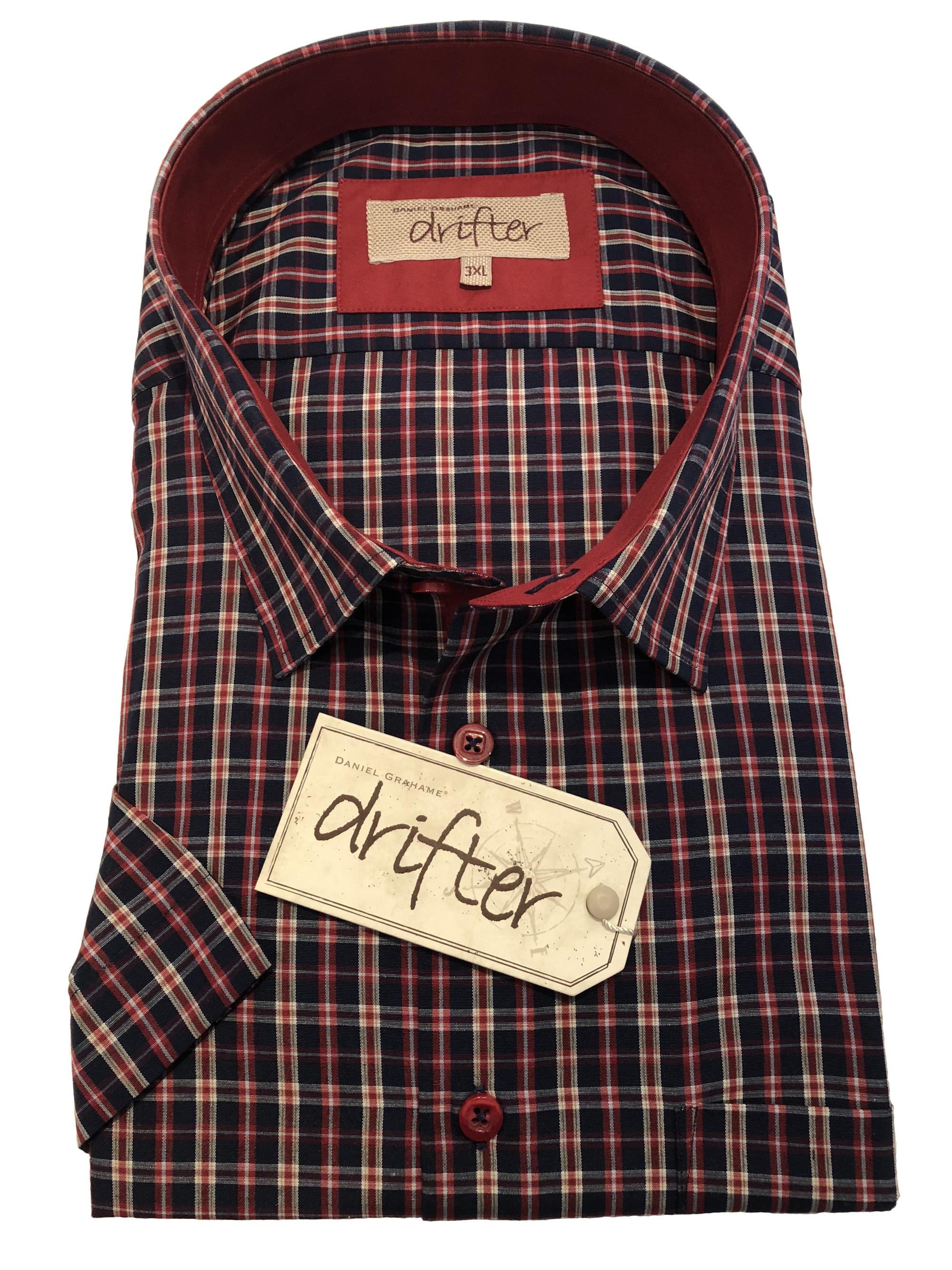 short sleeve multi check (navy/red)