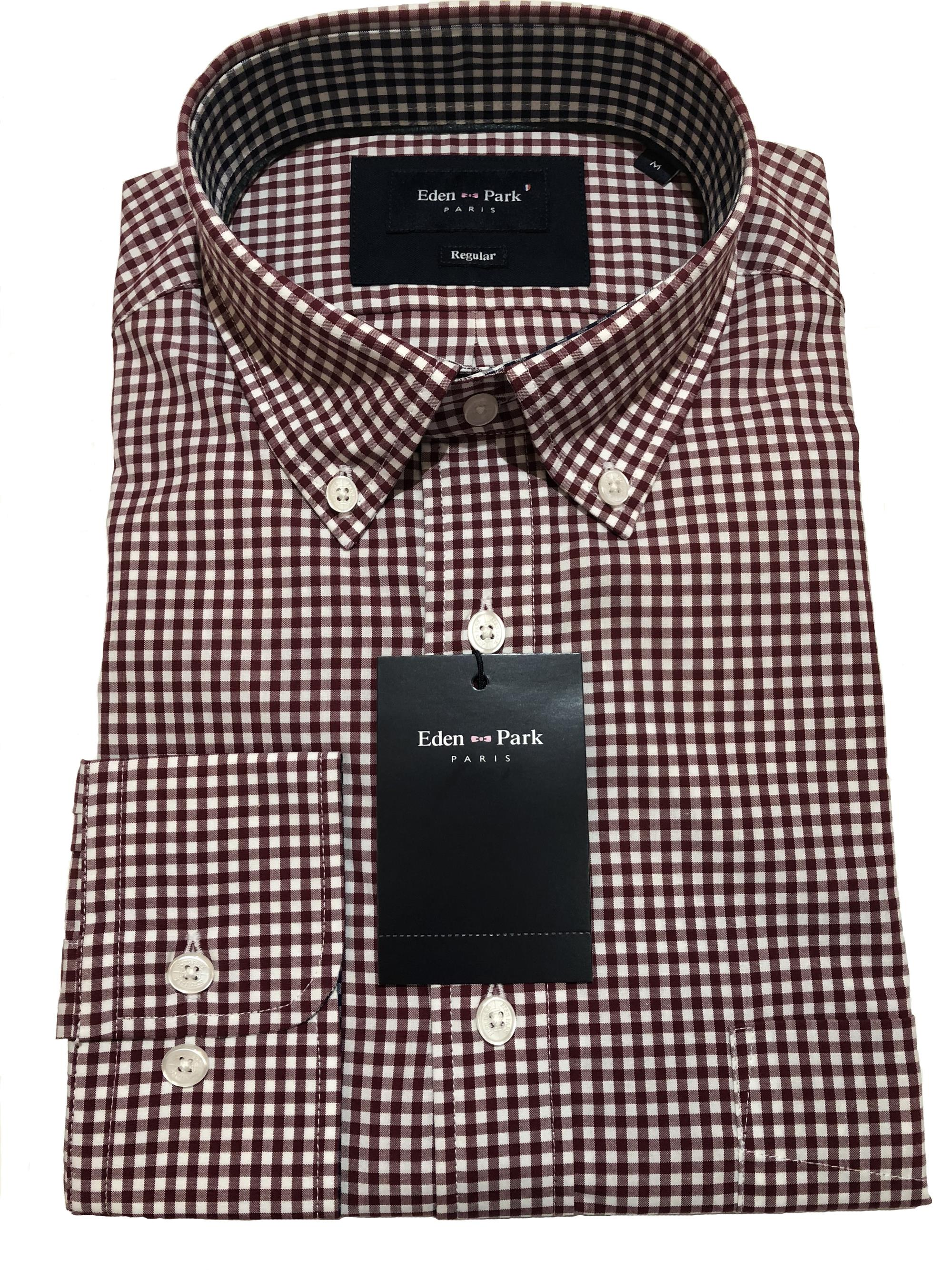 eden park classic long sleeve gingham check shirt (red)