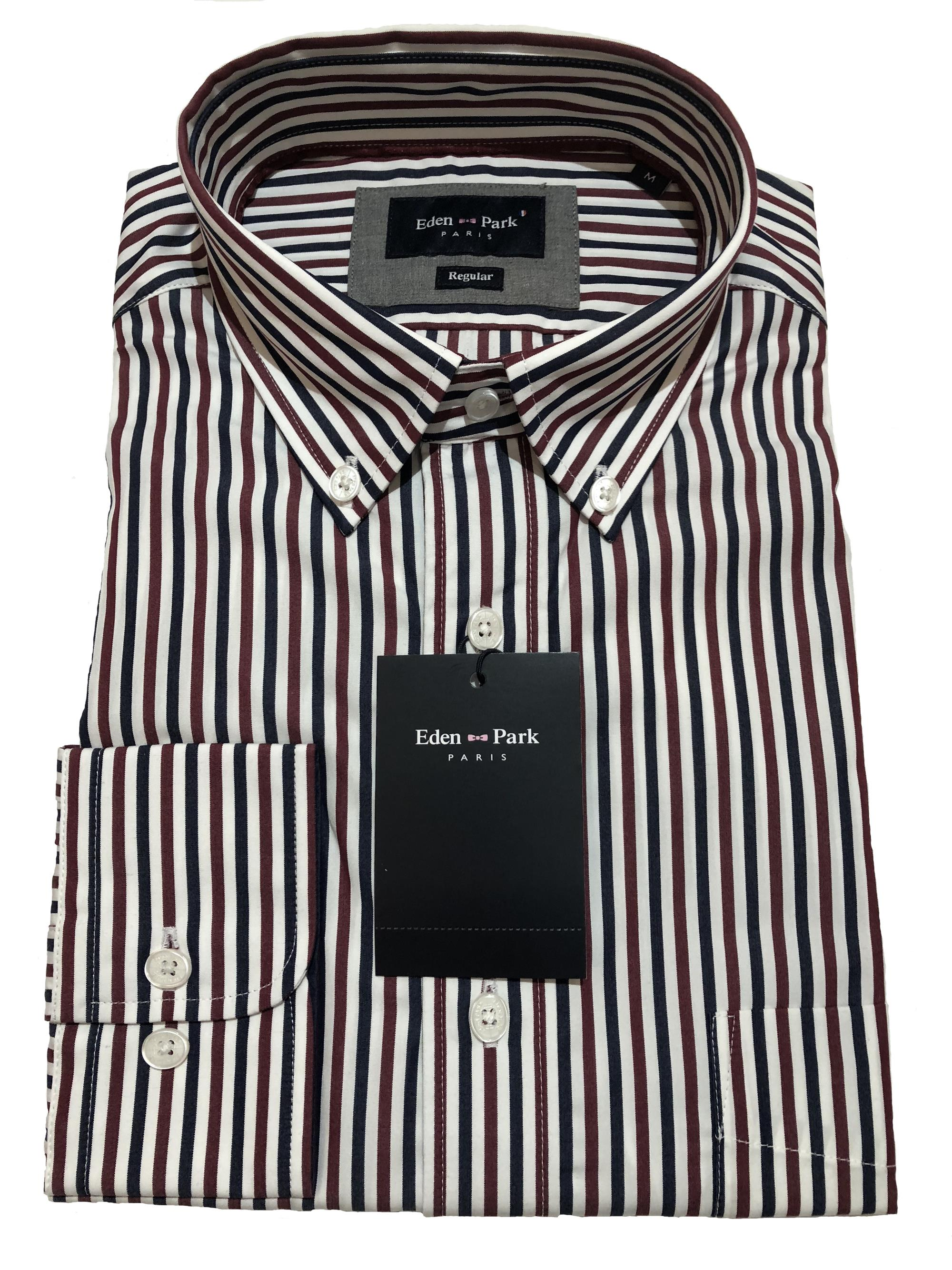 long sleeve striped shirt (navy/wine/white)