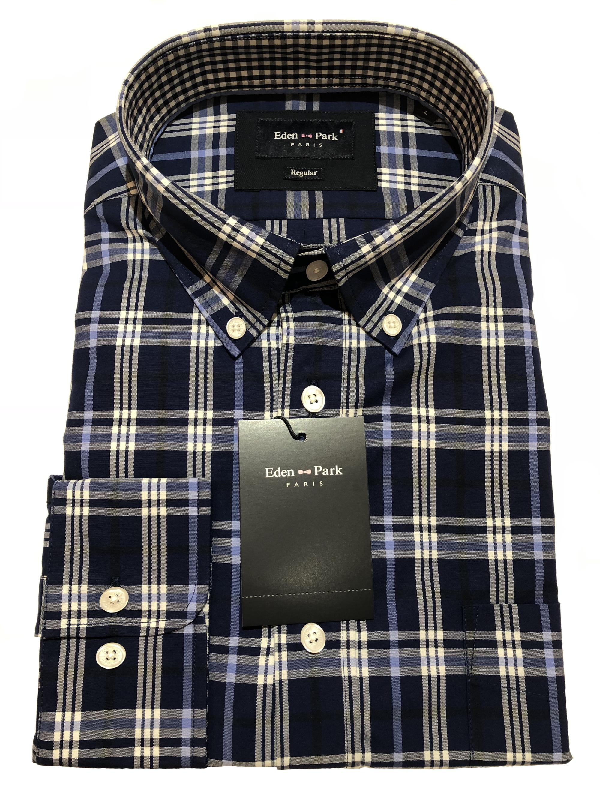 eden park long sleeve check shirt (navy/sky/white)