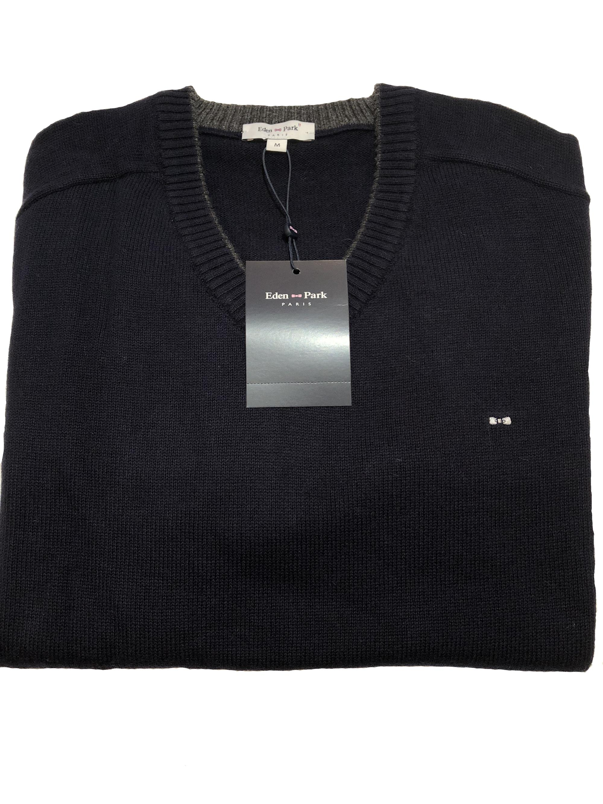 eden park trimmed v-neck sweater (navy)