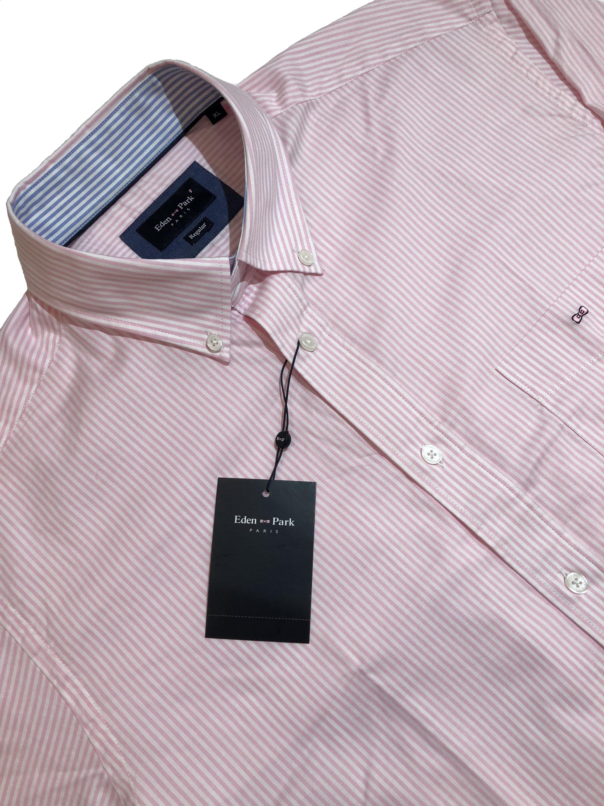 eden park classic long sleeve striped shirt (pink)