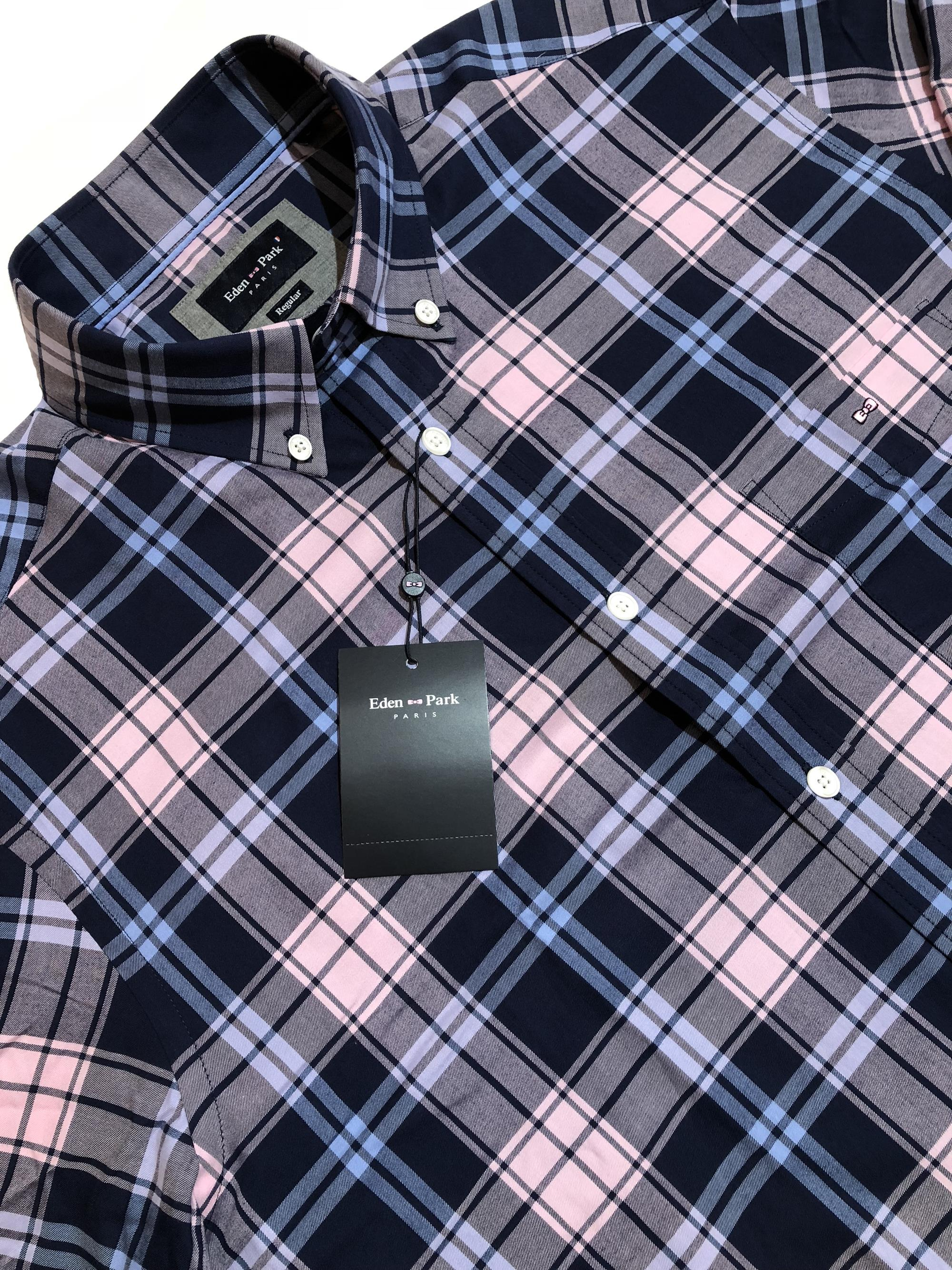 eden park long sleeve check shirt (navy/sky/pink)