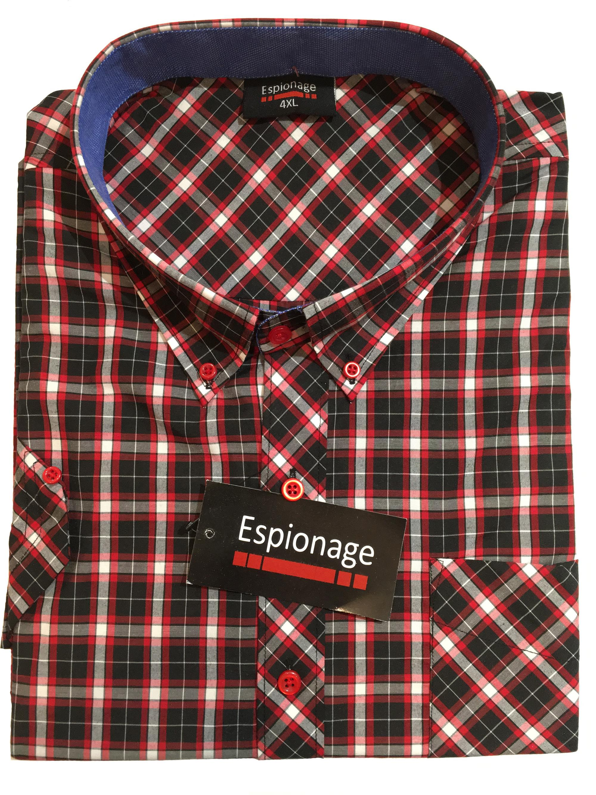short sleeve check (navy/red)