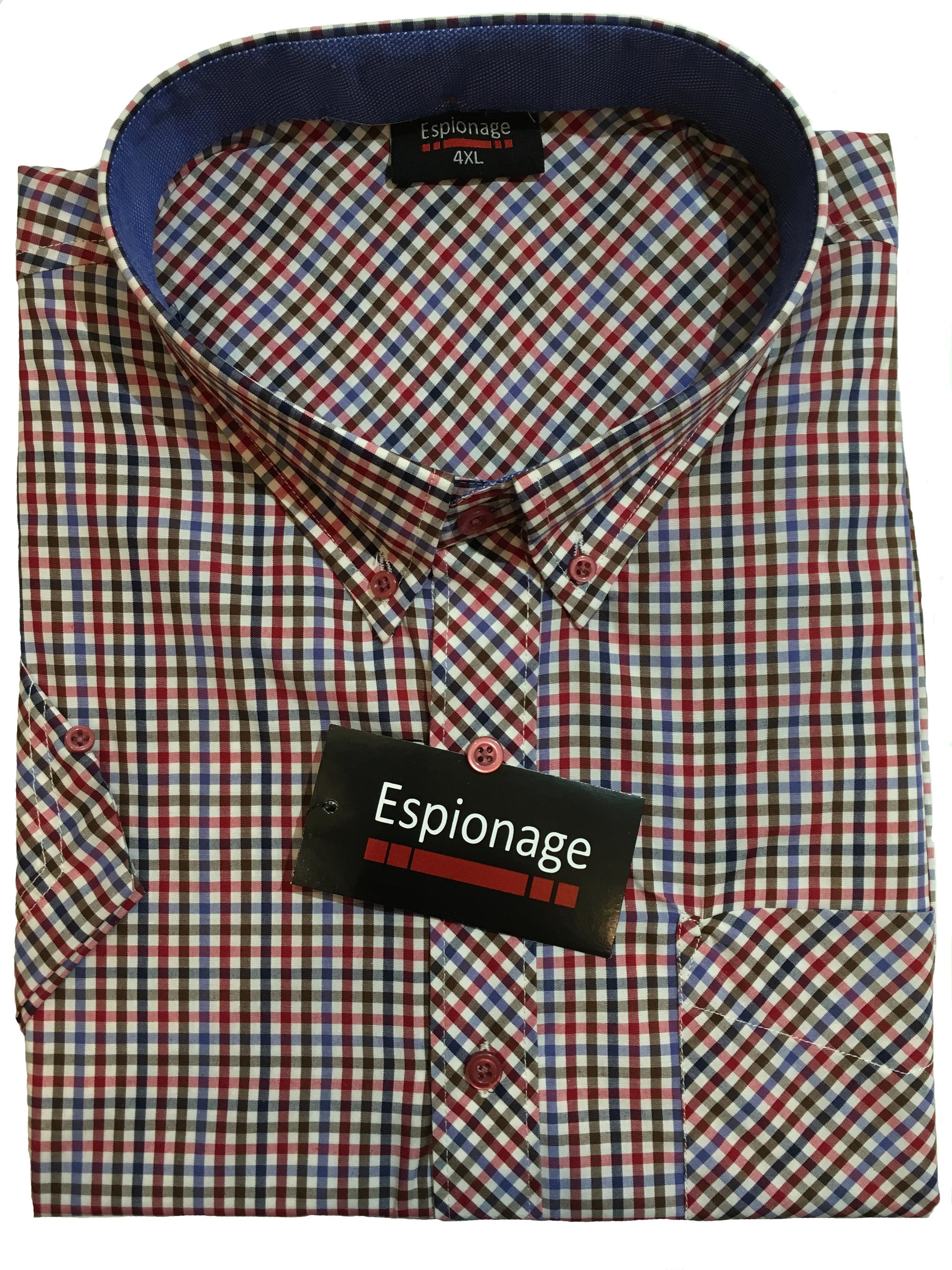 short sleeve neat check (red)