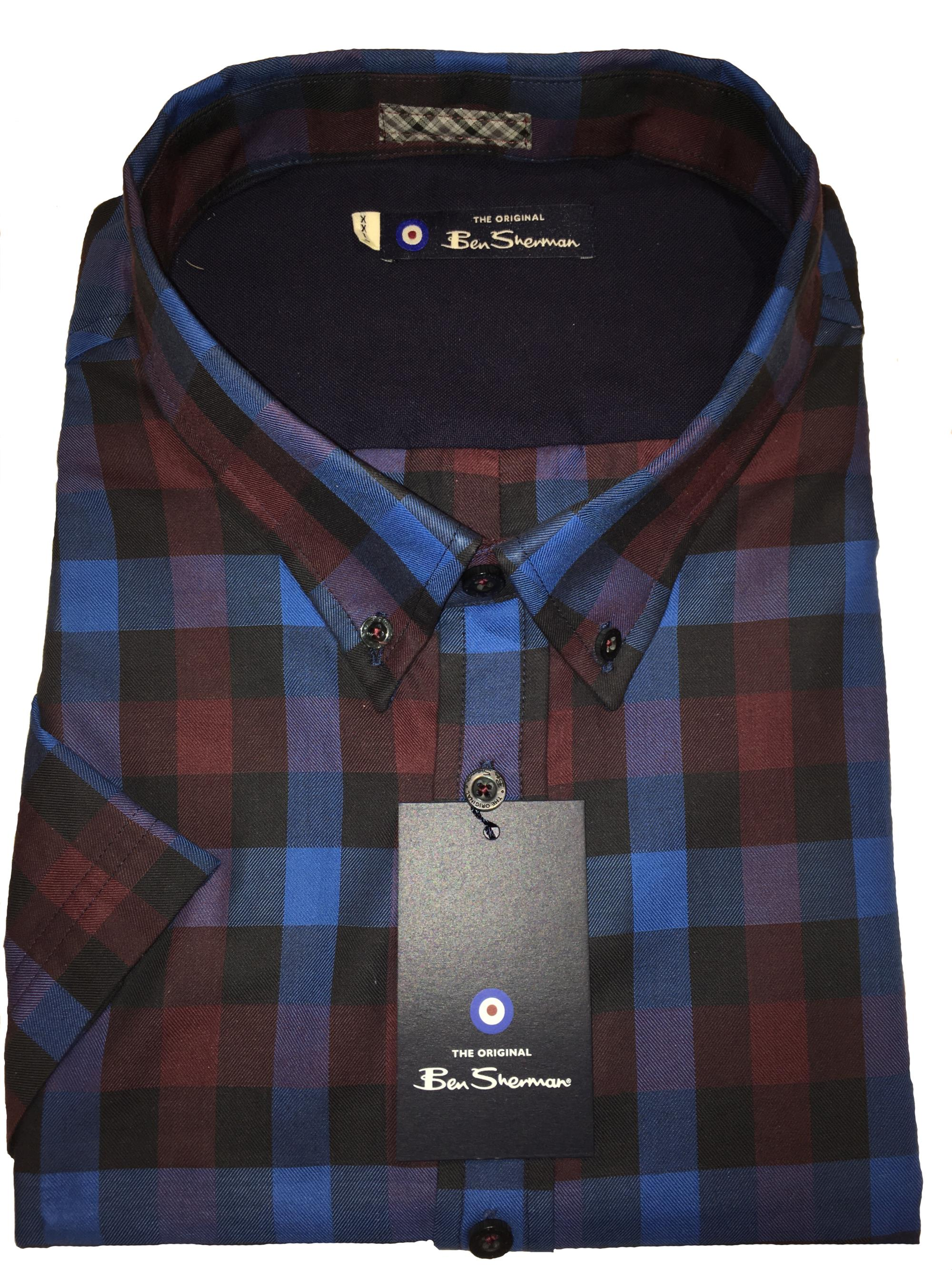 short sleeve bold check (royal/burgundy)