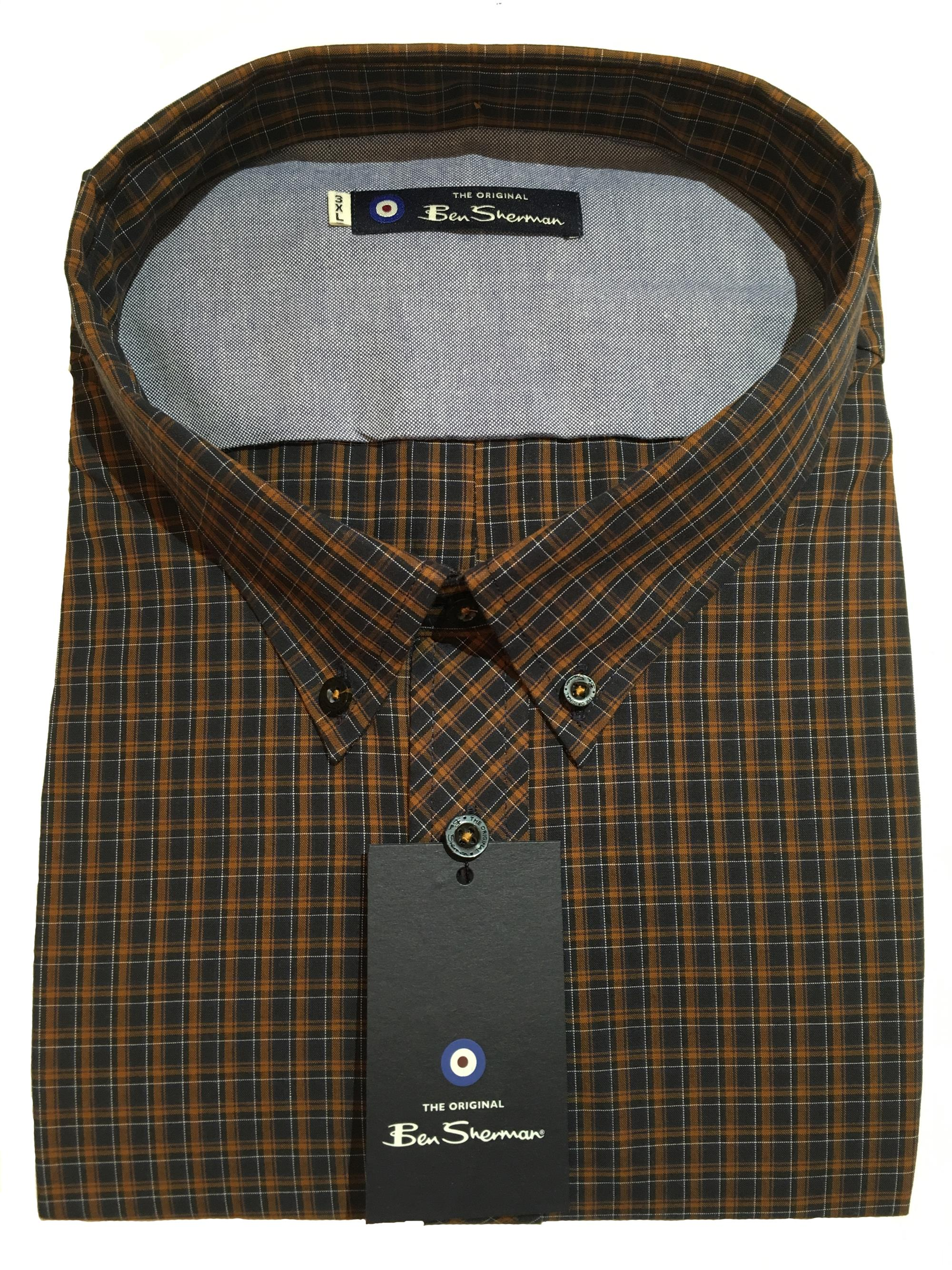 long sleeve neat check shirt (dark mustard)