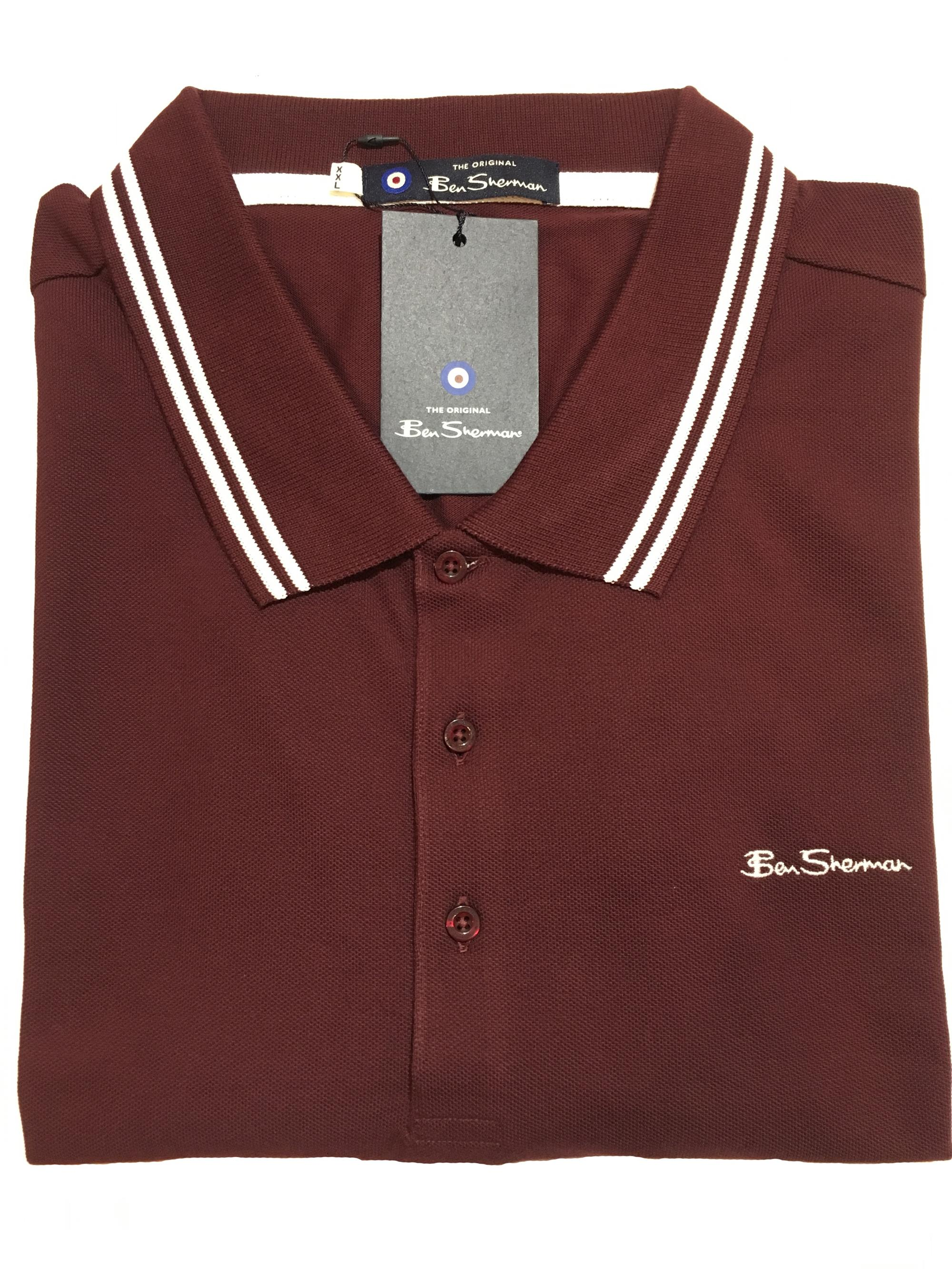 tipped polo shirt (burgundy)