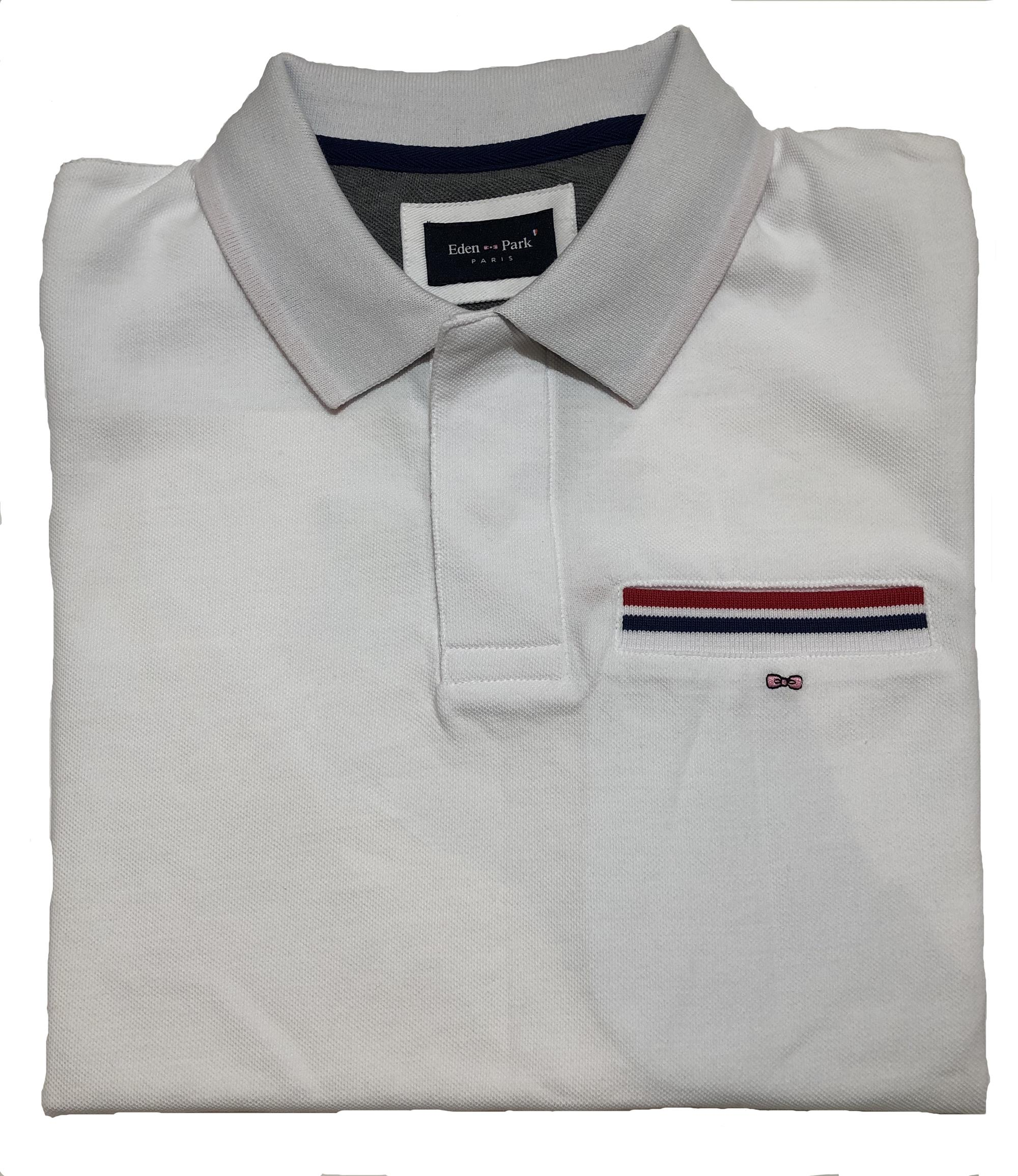 white polo shirt - reverse embroidery