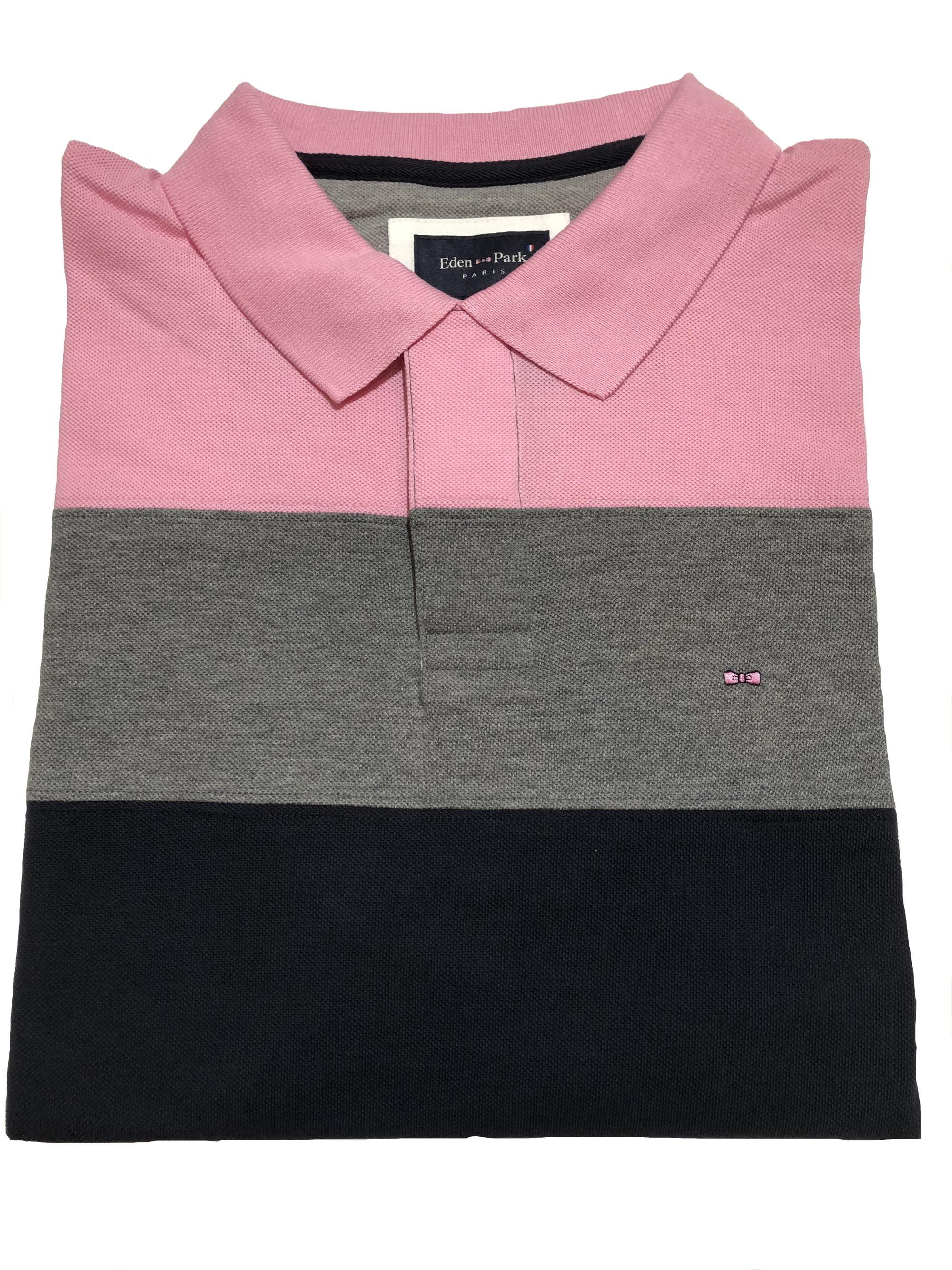 block striped polo shirt (pink/grey/navy)