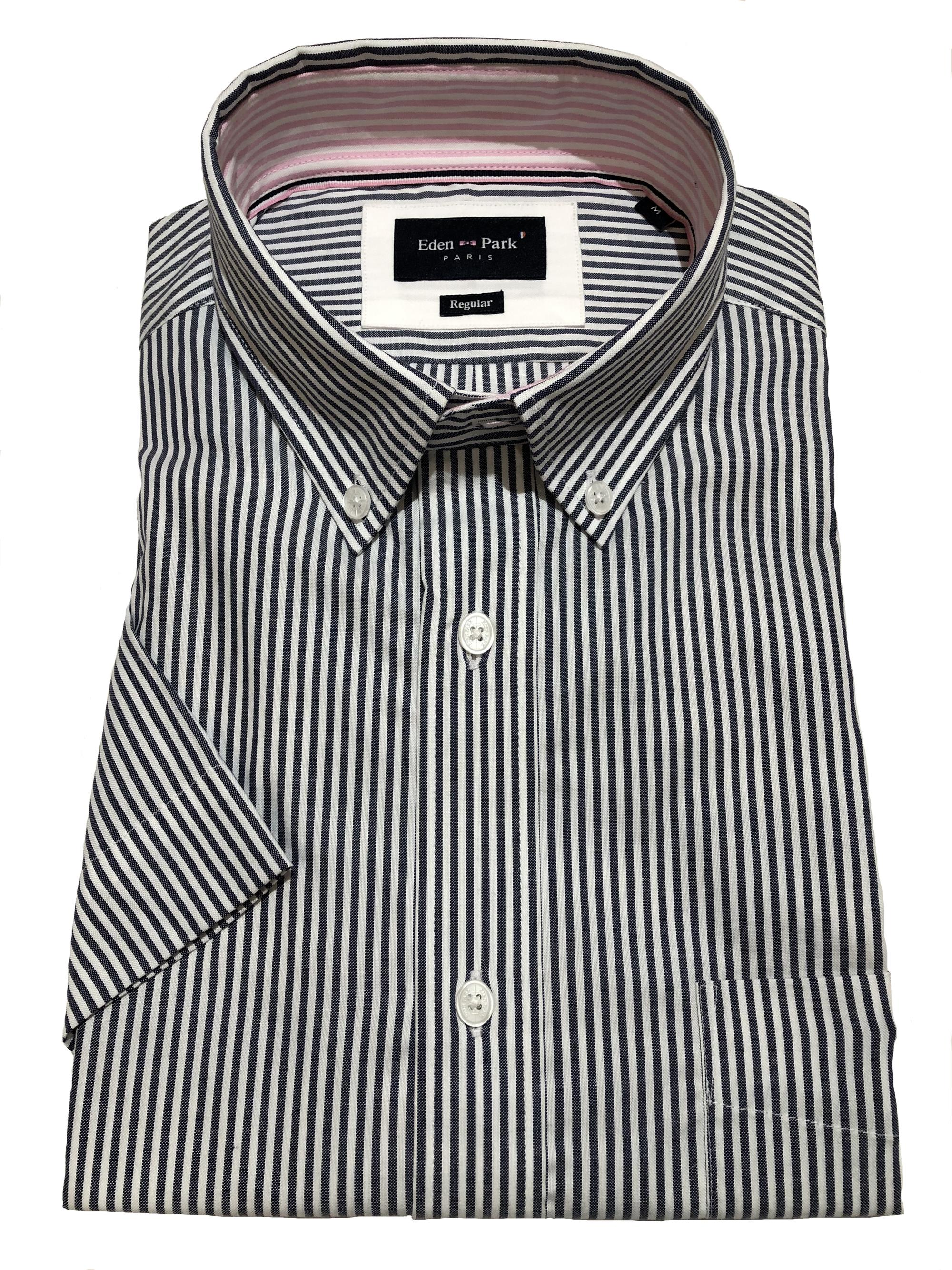 classic striped short sleeve shirt (dark blue)