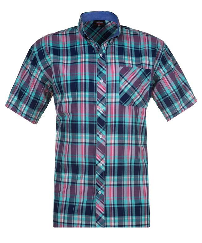 short sleeve multi check shirt (pink/teal)