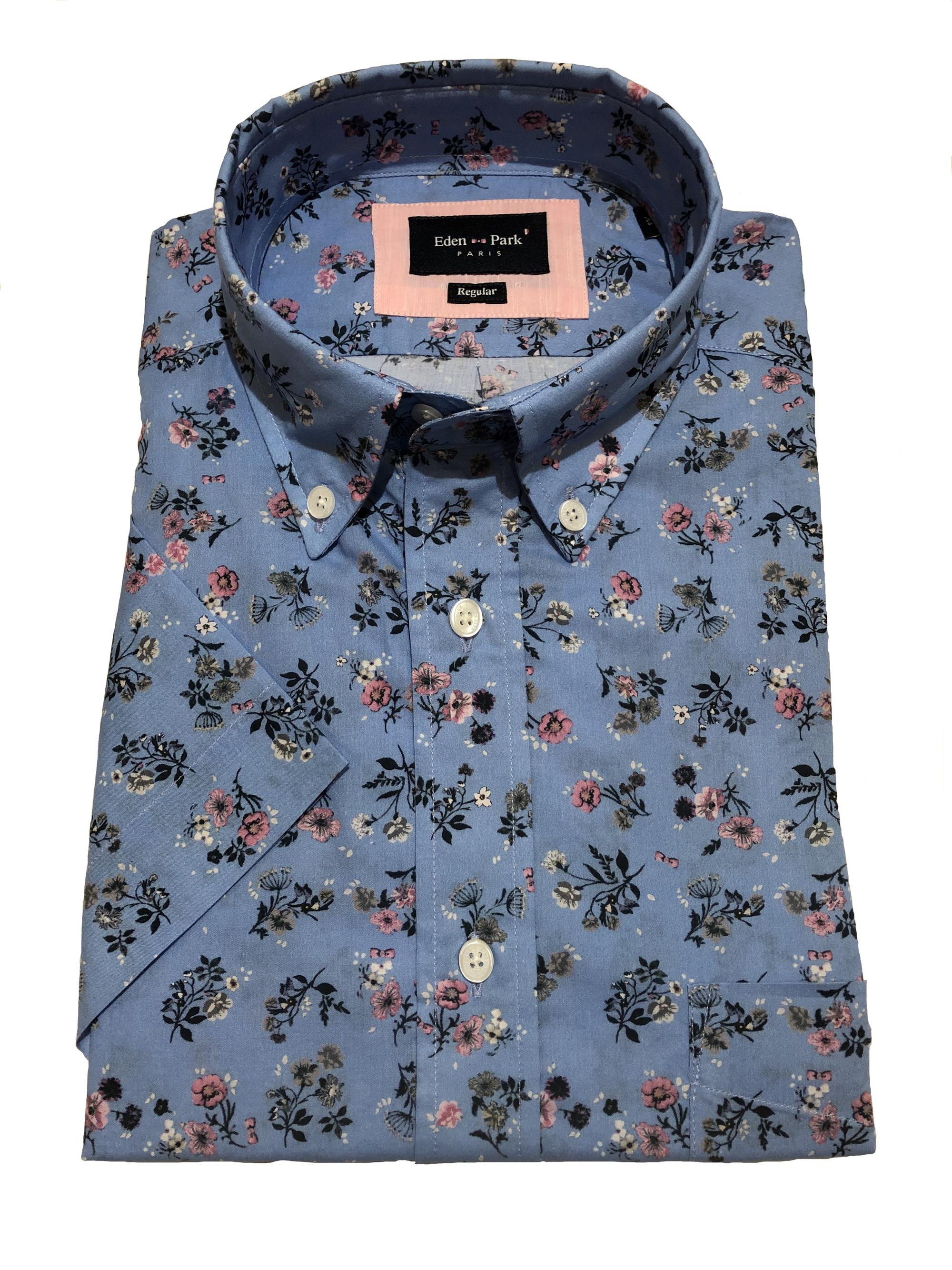 short sleeve floral pattern shirt (sky)