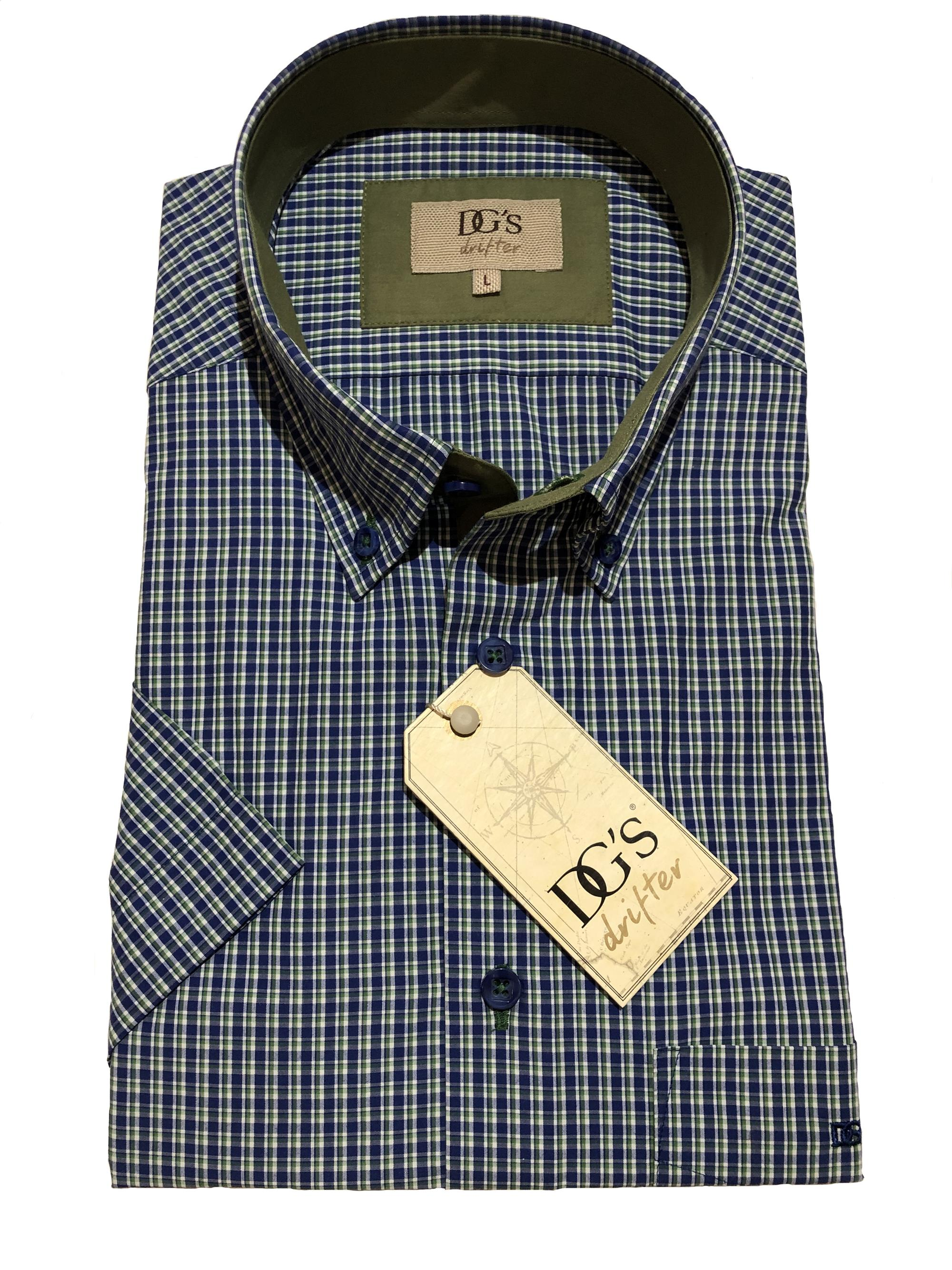 short sleeve neat check (blue/green)