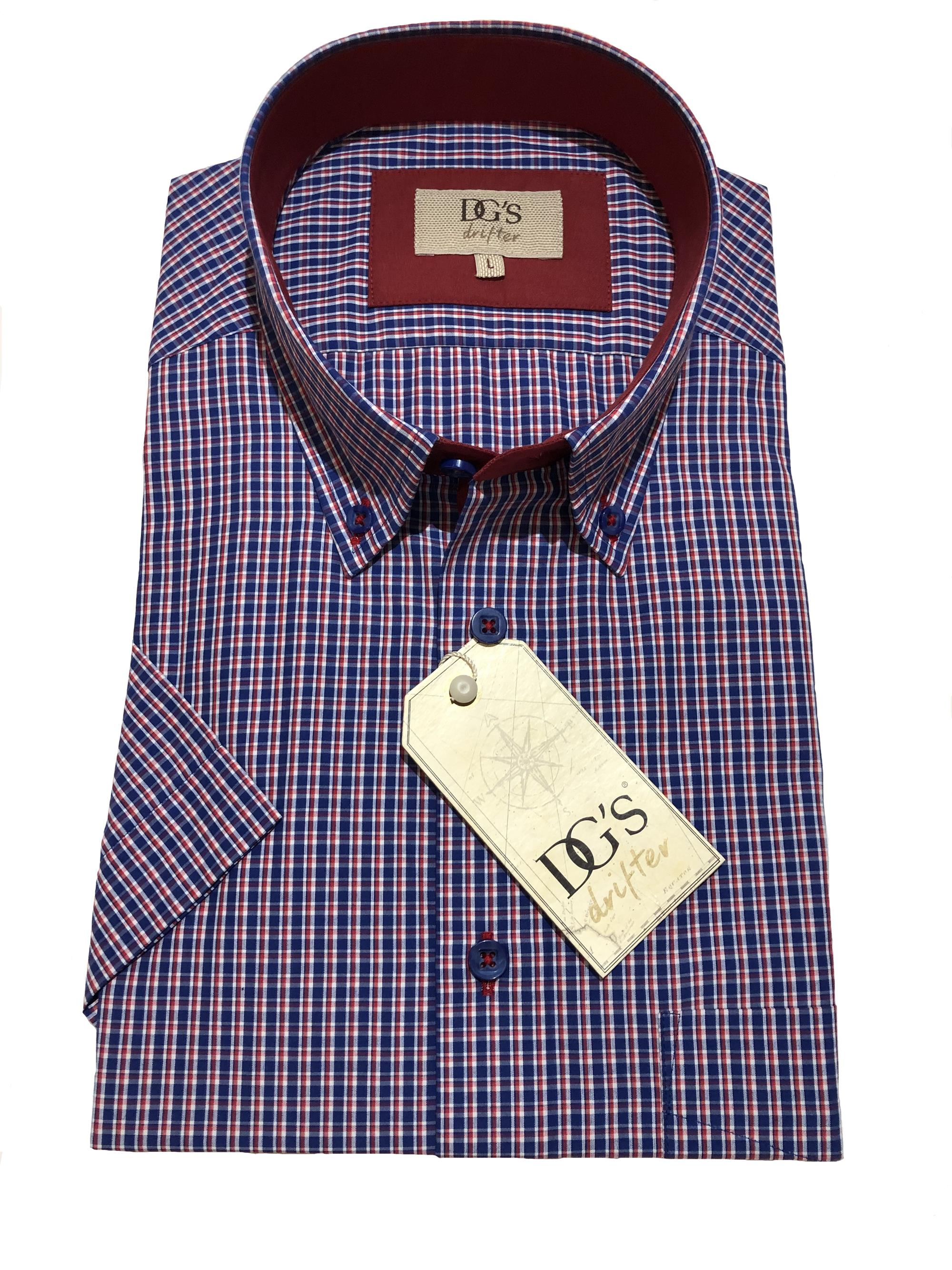 short sleeve neat check shirt (navy / red)