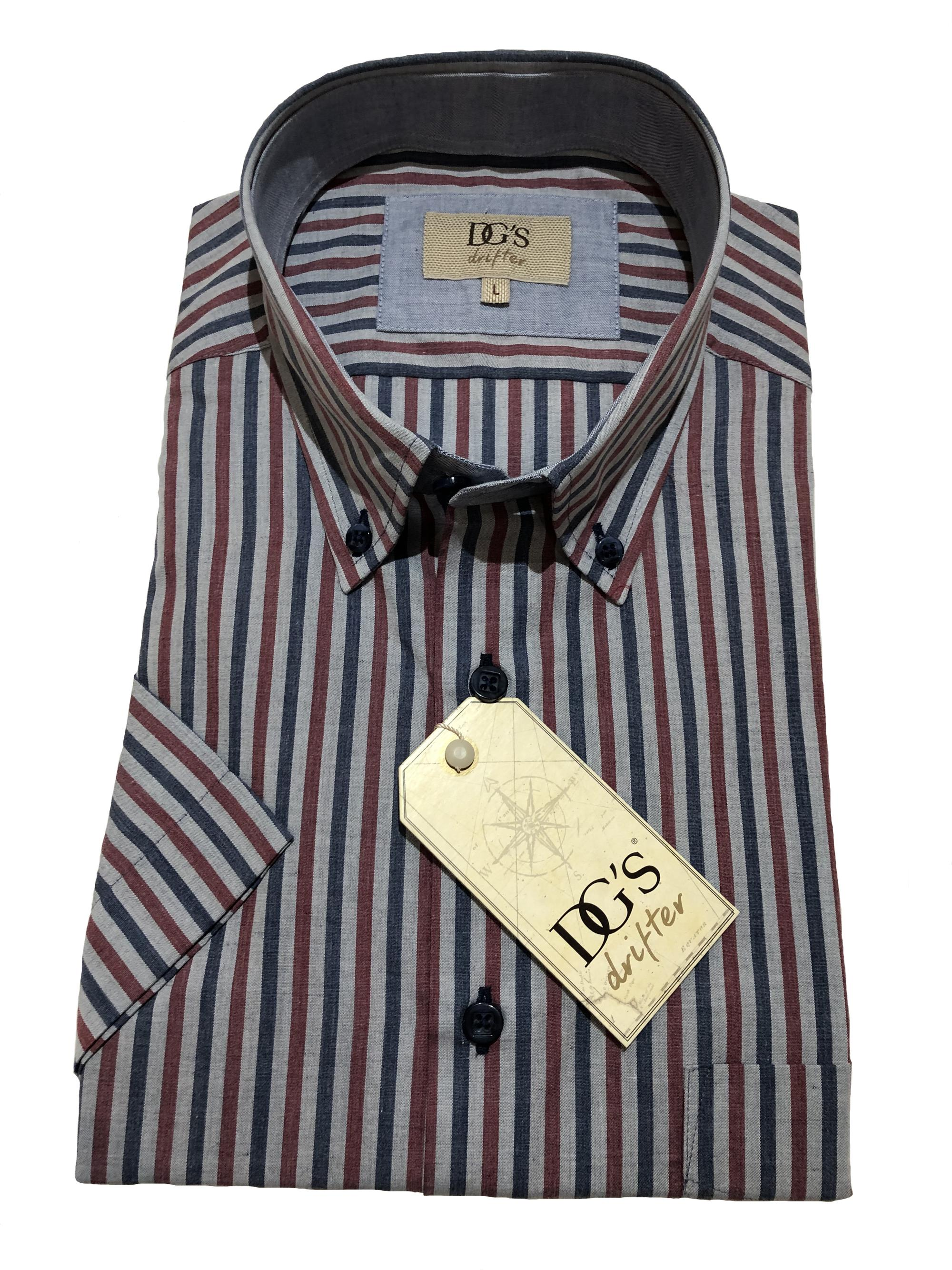 short sleeve classic stripe shirt (grey / wine)